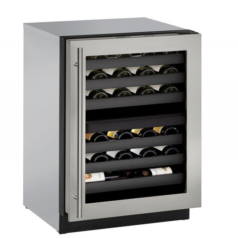 "Image of U-Line- U-3024ZWCS-00B Wine Cooler 43 Bottles 24"" Wide Single Zone with Reversible Hinge Stainless Door 3000 Series - U-Line - 43 Bottles"