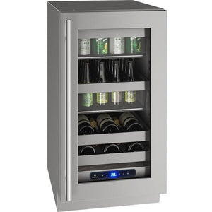 "U-Line UHBV518-SG01A Beverage Center 45 Bottles 18"" Wide Single Zone with Reversible Hinge Stainless Cabinet 5 Class - U-Line - 45 Bottles"