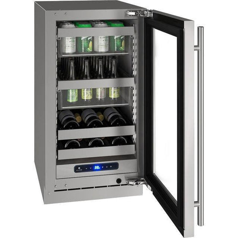 "Image of U-Line UHBV518-SG01A Beverage Center 45 Bottles 18"" Wide Single Zone with Reversible Hinge Stainless Cabinet 5 Class - U-Line - 45 Bottles"