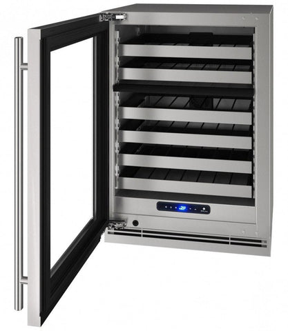 "U-Line 49 Bottles Stainless+ Lock / Left-hand U-Line UHWD524-SG01A 49 Bottles 24"" Wide Dual Zone Stainless Cabinet 5 Class"