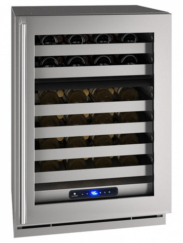 "U-Line 49 Bottles U-Line UHWD524-SG01A 49 Bottles 24"" Wide Dual Zone Stainless Cabinet 5 Class"