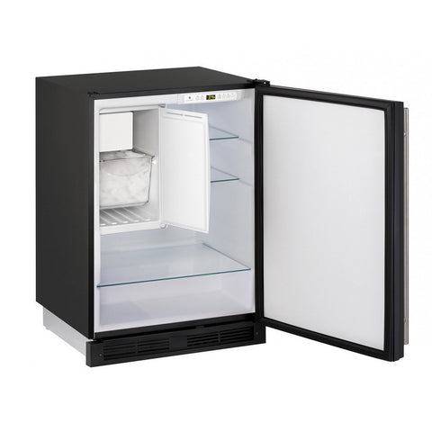 "Image of U-Line U-CO1224FS-00B Compact Refrigerator Combo Frost Free 24"" Wide 61 Bottles w/ Reversible Hinge Stainless Steel 1000 Series - U-Line - 61 Bottles"