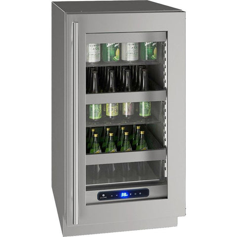 "Image of U-Line UHRE518-SG01A Glass Refrigerator 61 Bottles 18"" Wide w/ Reversible Hinge Stainless Steel 5 Class - U-Line - 61 Bottles"