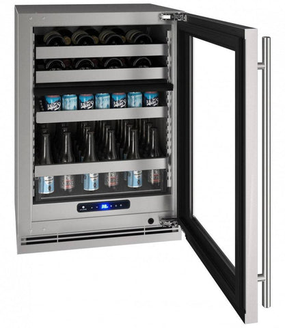 "U-Line 68 Bottles BC U-Line UHBV515-SG01A Beverage Center 68 Bottles 24"" Wide Dual Zone Stainless Cabinet 5 Class"