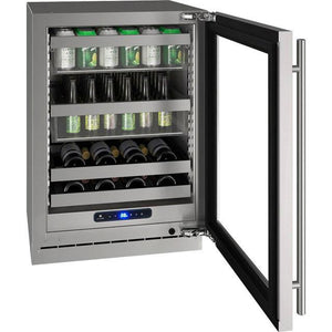 "U-Line UHBV524-SG01A Beverage Center 68 Bottles 24"" Wide Single Zone with Reversible Hinge Stainless Steel Cabinet 5 Class - U-Line - 68 Bottles"