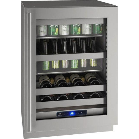 "Image of U-Line UHBV524-SG01A Beverage Center 68 Bottles 24"" Wide Single Zone with Reversible Hinge Stainless Steel Cabinet 5 Class - U-Line - 68 Bottles"