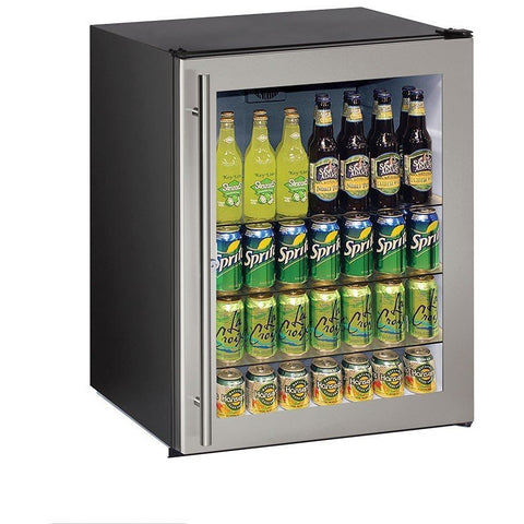"Image of U-Line U-ADA24RGLB-13B Glass Refrigerator 70 Bottle Capacity 24"" Wide w/ Lock Reversible Hinge - U-Line - 70 Bottles"