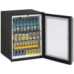 "U-Line U-ADA24RGLB-13B Glass Refrigerator 70 Bottle Capacity 24"" Wide w/ Lock Reversible Hinge - U-Line - 70 Bottles"
