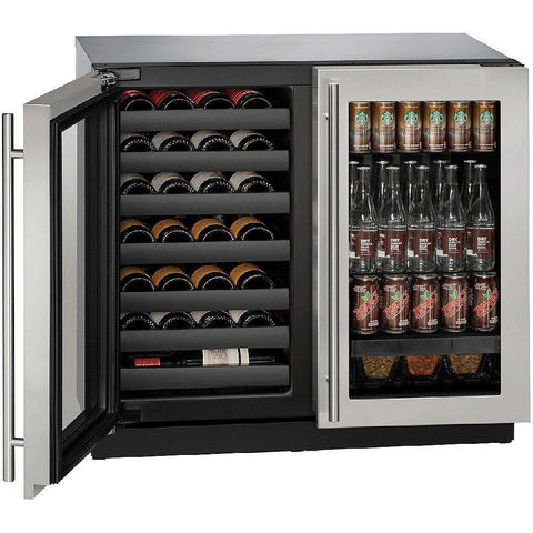 "Image of U-Line U-3036BVWCS-00B Wine Center  79 Bottles 36"" Wide Dual Zone with Stainless Steel Double Doors 3000 Series - U-Line - 79 Bottles"