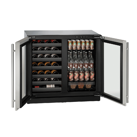 "U-Line U-3036BVWCS-00B Wine Center  79 Bottles 36"" Wide Dual Zone with Stainless Steel Double Doors 3000 Series - U-Line - 79 Bottles"