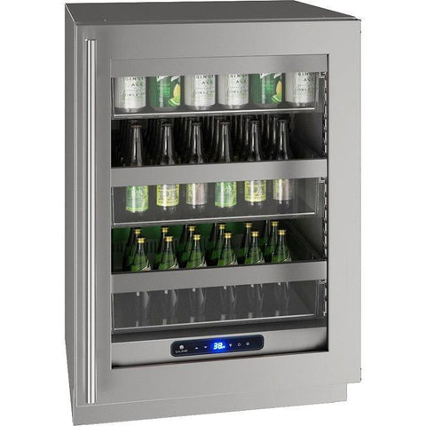 "U-Line UHRE524-SG01A Glass Refrigerator 94 Bottles 24"" Wide Reversible Hinge Stainless Steel 5 Class - U-Line - 94 Bottels"