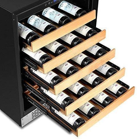 "Whynter 19 Bottles Whynter Wine Refrigerator 54 Bottle 24"" Built-In Stainless Steel BWR-541STS"