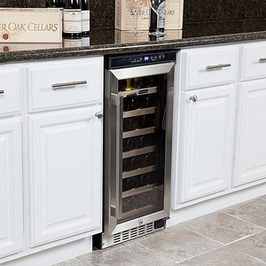 "Whynter 33 Bottles Whynter Wine Refrigerator 33 Bottle 15"" Built-In Stainless Steel BWR-33SD"