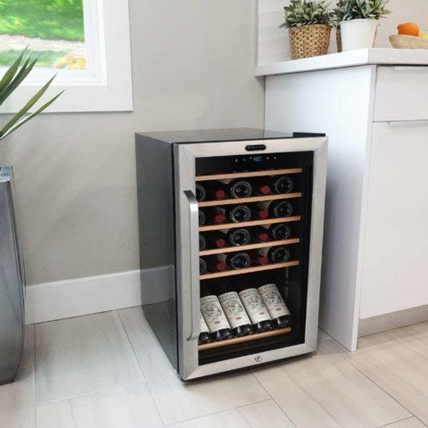 "Whynter FWC-341TS Wine Cooler- 19"" Wide 34 Bottles Single Zone Freestanding Stainless Steel - Whynter - 34 Bottles"