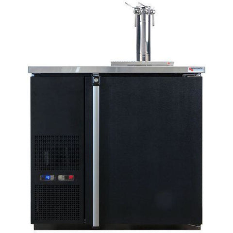 Image of Micro Matic MDD36W-E-A Wide 4 Keg Pro-Line Wine E-Series Dual Zone Insulated Wine Cooler Dispenser With 2 Finesse Faucets - Wine Cooler Deals - 4 Keg Dispenser