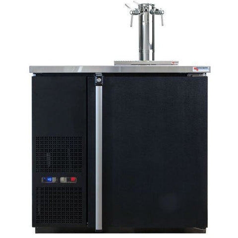 Micro Matic MDD36W-E-B Wide 4 Keg Pro-Line Wine E-Series Dual Zone Insulated Wine Cooler Dispenser With 3 Finesse Faucets - Wine Cooler Deals - 4 Keg Dispenser
