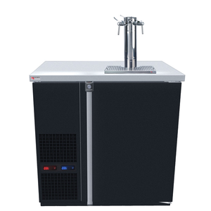 Micro Matic MDD36W-E-B Wide 4 Keg Pro-Line Wine E-Series Dual Zone Insulated Wine Cooler Dispenser With 3 Finesse Faucets