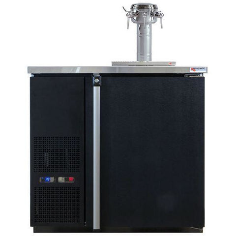 Micro Matic MDD36W-E-D Wide 4 Keg Pro-Line Wine E-Series Dual Zone Insulated Wine Cooler Dispenser With 3 Sommelier Faucets - Wine Cooler Deals - 4 Keg Dispenser
