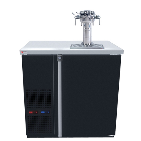 Image of Micro Matic MDD36W-E-E Wide 4 Keg Pro-Line Wine E-Series Dual Zone Insulated Wine Cooler Dispenser With 4 Sommelier Faucets - Wine Cooler Deals - 4 Keg Dispenser