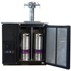Micro Matic MDD36W-E-E Wide 4 Keg Pro-Line Wine E-Series Dual Zone Insulated Wine Cooler Dispenser With 4 Sommelier Faucets - Wine Cooler Deals - 4 Keg Dispenser