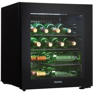 "Danby  DWC018A1BDB Wine Cooler 16 Bottle 18"" Wide w/ Reversible Door, Smoked Glass Door, Counter-top - Black - Danby - 16 Bottles"