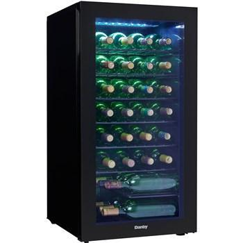 "Image of Danby DWC032A2BDB Wine Cooler 35 Bottles 18"" Wide Single Zone w/ Reversible Door, All Black, Smoked Glass - Danby - 36 Bottles"