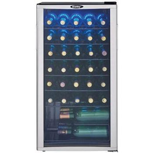 "Danby DWC350BLP Wine Cooler 35 Bottles 18"" Wide Single Zone w/ Reversible Door, Tempered Glass Door, Freestanding- Black - Danby - 35 Bottles"