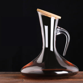 Wine Decanter Pear shaped with handle and cork stopper