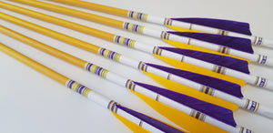 "KG Premium Wooden Arrows with 4"" Feathers - 5/16 Spine"