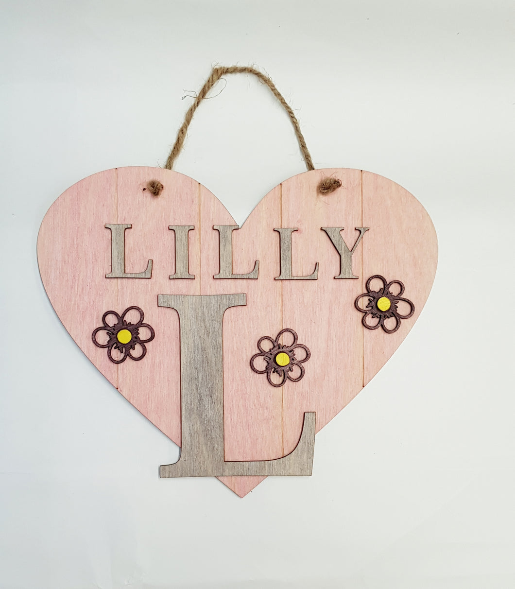 Heart Initial Door Sign