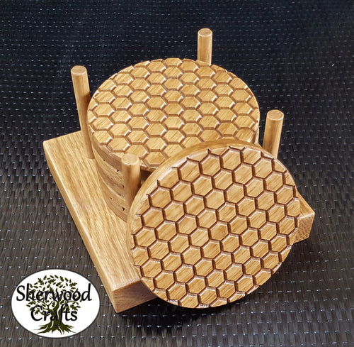 Oak Coasters - Honeycomb / Bee Hive