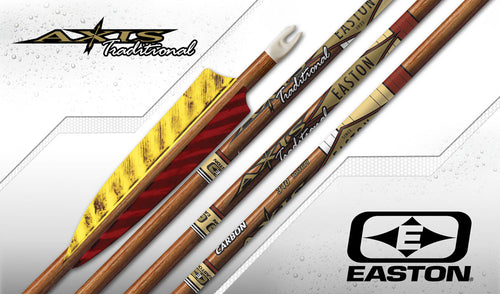 Easton Axis Traditional Carbon Arrows x12 with 4