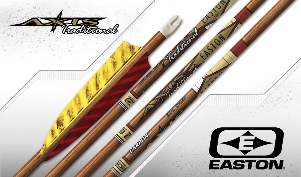 Easton Axis Traditional Carbon Arrows x12 with 3