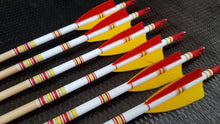 "Load image into Gallery viewer, KG Premium Wooden Arrows with 3"" Feathers - 5/16 Spine"