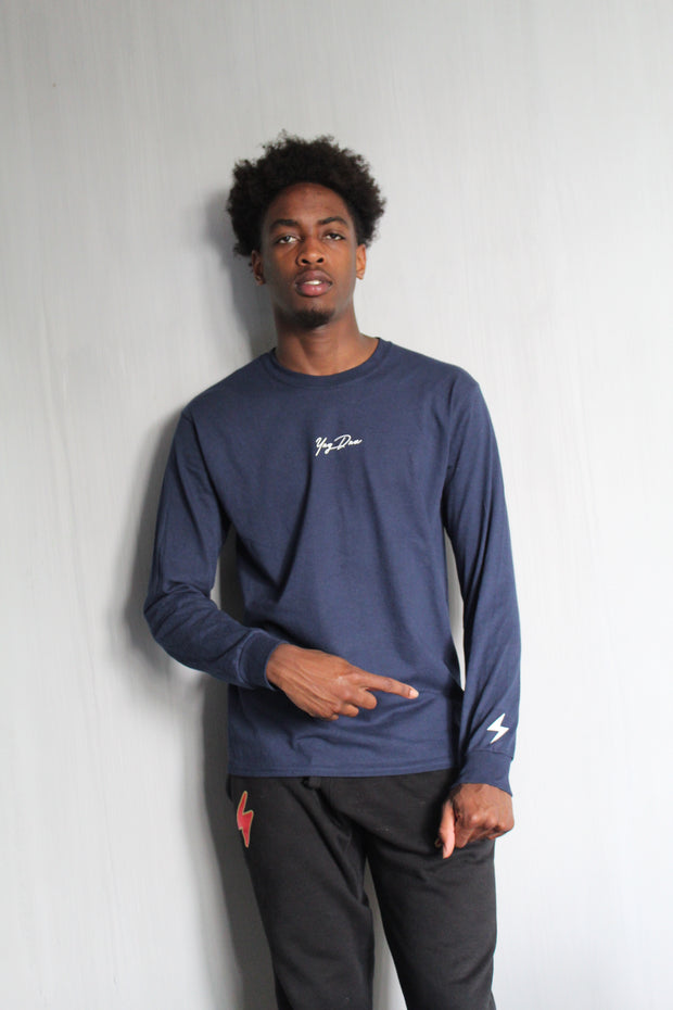 Small Signature Long Sleeve (Navy)