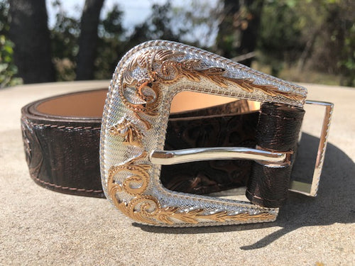 Nuevo Rancho Chocolate Tooled Western Belt