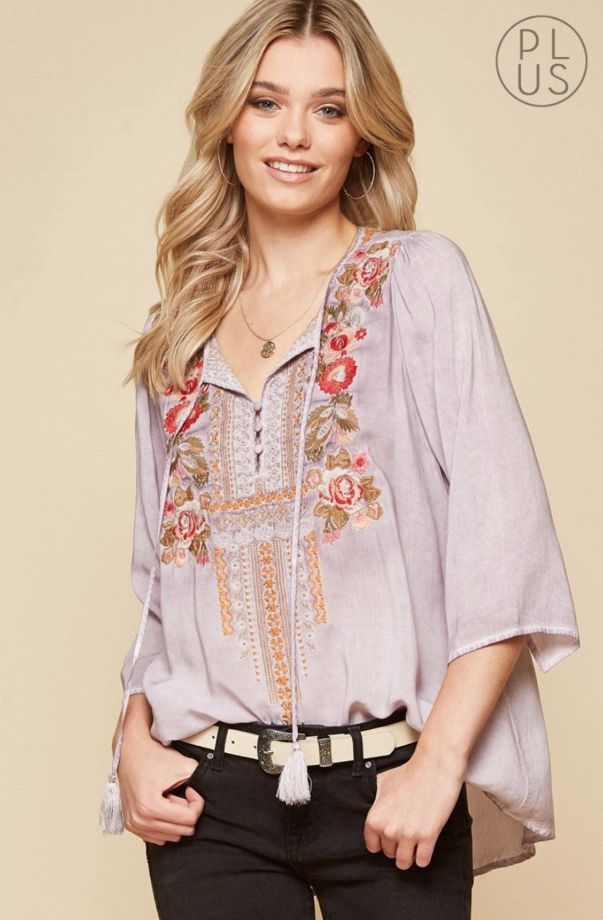 Embroidered Boho Top