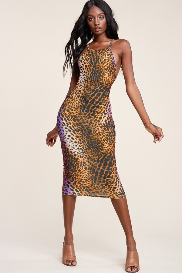 Animal Print Racerback Slip Dress