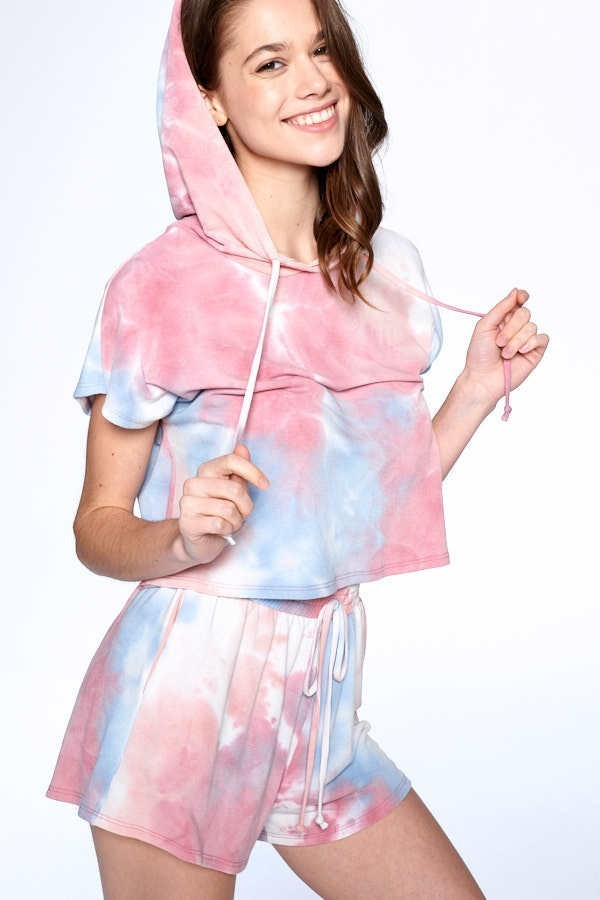 Tie Dye Hoodie and Shorts Set