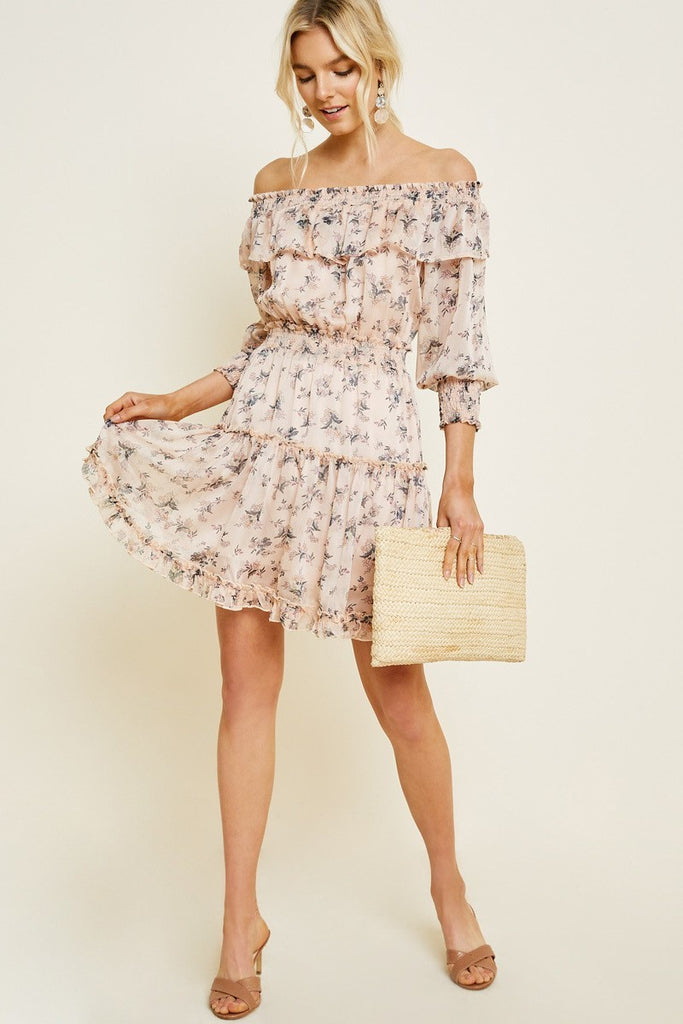 Floral Off-Shoulder Mini Dress