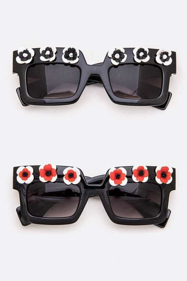 Flower Trim Square Sunglasses