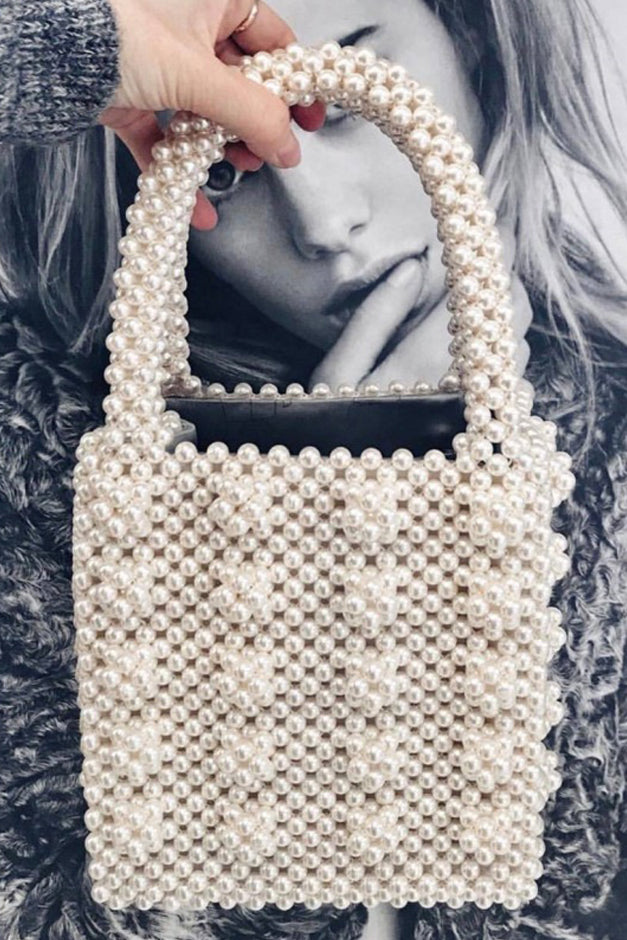 Small Faux Pearl Beaded Handbag