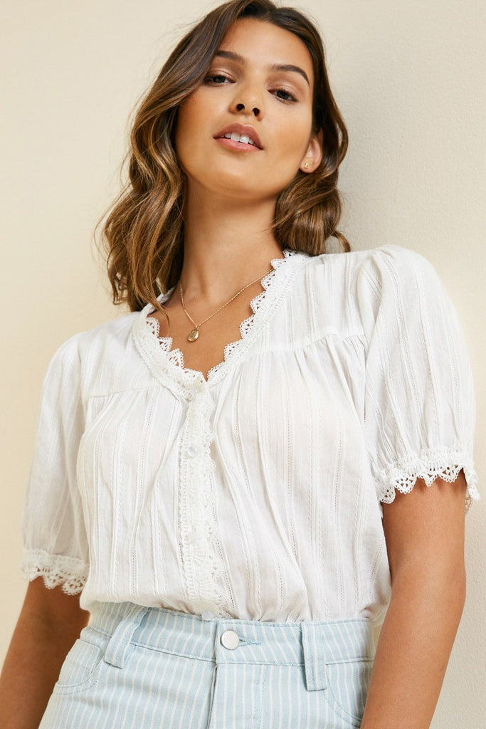 Lace Trim Peasant Top