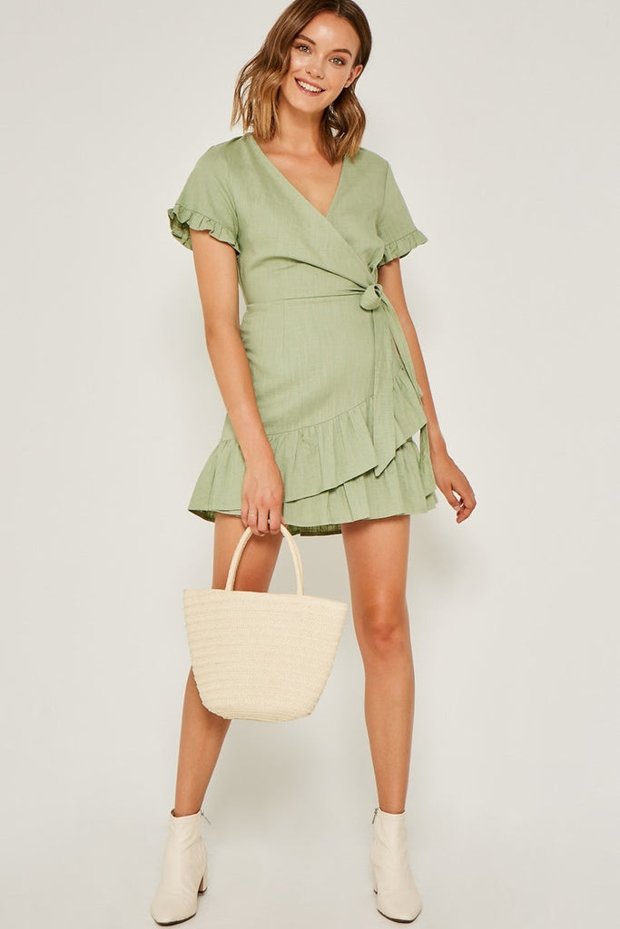 Linen Ruffle Mini Wrap Dress