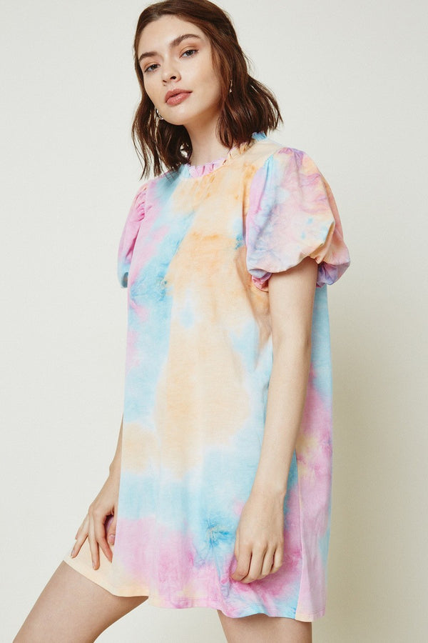 Tie Dye Puff Sleeve Dress