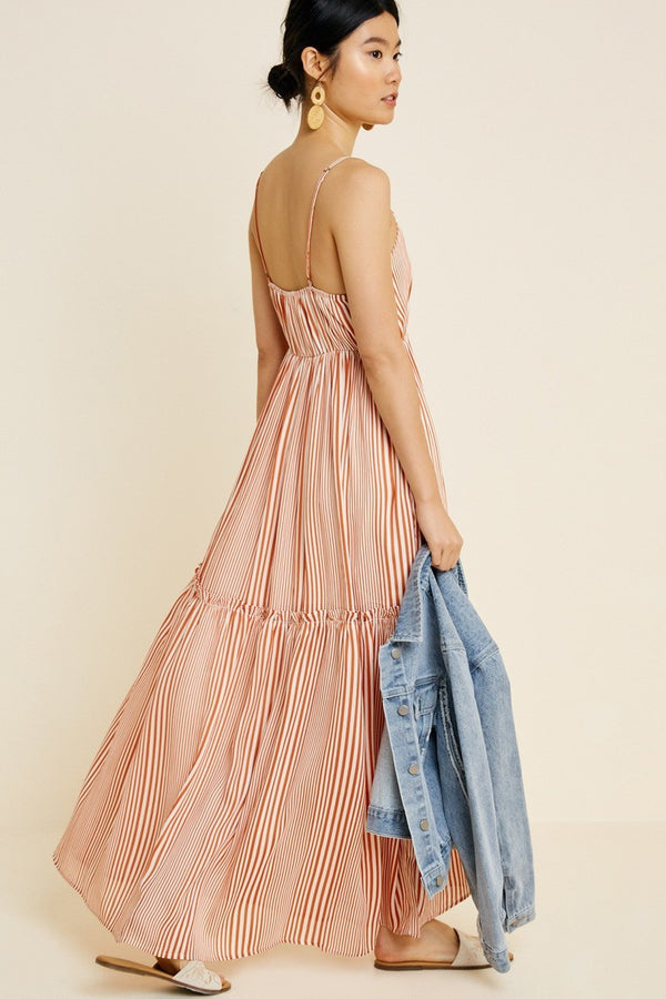 Striped Ruffle Tier Maxi Dress
