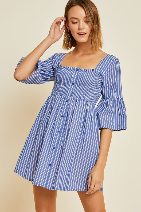 Striped Smocked Bell Sleeve Dress
