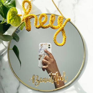 Load image into Gallery viewer, Joy - The Hey Beautiful (Self-love) Round Mirror
