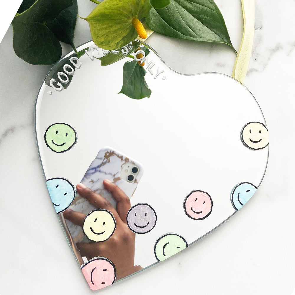 Load image into Gallery viewer, Joy - Good Vibes Only Heart Shaped (Positivity) Mirror