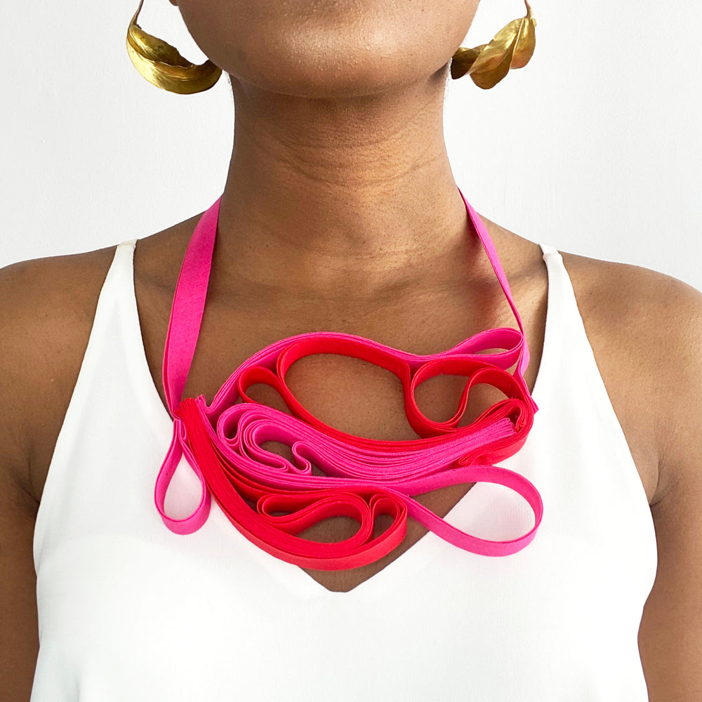 The Adele Duo (Red and Pink) chunky statement necklace